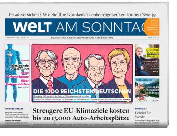 WELT AM SONNTAG veröffentlicht die 1000 reichsten Deutschen 2020